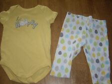 EUC Baby Girls Size 3-6M Gymboree 2pc Set 1pc Romper Rabbit Be Hoppy  Dot Pants