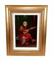 ANTIQUE OLDRICH FARSKY (1860-1930) OIL PAINTING ART PORTRAIT BAROQUE LUTE PLAYER