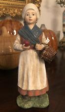 Vintage Bethany Lowe Designs Pilgrim Girl with Basket of Apples