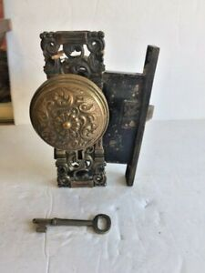 Antique  Ornate Brass Door Knobs, Lock, Spindle Rod and 1 Key