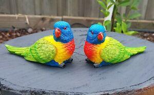 Parrot Bird Lorikeet PAIR Statue Figurine Ornament Garden Sculpture 14 cm