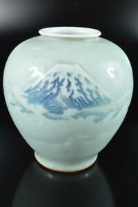 #8982: Japanese Old Arita-ware Blue&White Fujiyama sculpture FLOWER VASE Ikebana