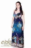 Women Ladies Paisley Print Blue Teal Maxi Dress 8-26 Party Dress