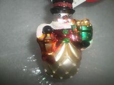 "Radko Christmas ""Light the Way Gem"" Snowman Glass Ornament Nwt"