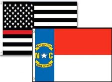 3x5 Usa Thin Red Line North Carolina State 2 Pack Flag Wholesale Set Combo 3'x5'