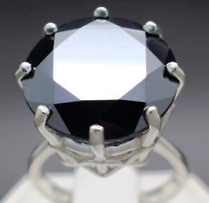 14.90cts 15.96mm Real Natural Black Diamond Ring AAA Grade & $7650 Value.'