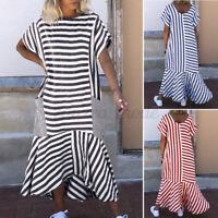 UK Women O-Neck Short Sleeve Striped Dress Holiday Beach Dresses Plus Size Baggy