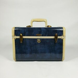 Vintage Samsonite Streamlite Blue Train Case w Tray 1940s 1950s Luggage