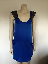 Anise Blue Spaghetti Strap Sexy Satin Shift Dress Size 8