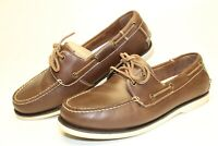J. Murphy Mens 8.5 M Natural Leather Slip On 2-Eye Boat Shoes 59-19502