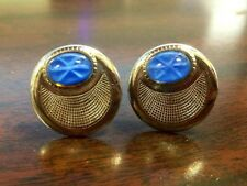 Silver and Bright Blue Cuff Links! So Bright and Colorful- Classy!