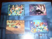 disney store little mermaid 4 commemorative lithograph
