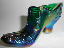hunter green carnival glass Bow pattern Shoe Slipper Boot iridescent emerald art