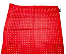 Polo Ralph Lauren Hand Made Italy UNISEX 100% Silk Red White Pois Spotted Scarf