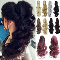 Long Curly Wavy Hair Extensions Ponytail Claw Clip Blond Jaw Ponytail Hairpiece~