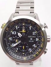 Seiko Prospex SSC369 Men's Solar Flight Computer BlCK Dial Chronograph Watch