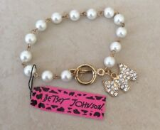 Betsey Johnson Pearl Bracelet Crystal Dog Charm Pearl Bracelet Perfect Gift Idea