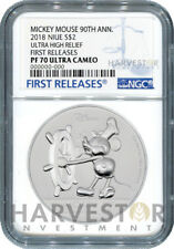MICKEY MOUSE 90TH ANN. ULTRA HIGH RELIEF - 2 OZ. COIN - NGC PF70 FIRST RELEASE