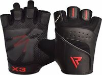 RDX Leather Gym Gloves Bodybuilding Fitness Weight Lifting Training Straps AU