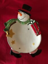 Fitz And Floyd Holiday Wishes Snowman Canapé Plate Vintage 2007
