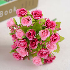 New 21 Head Artifical Plastic Rose Silk Flower Wedding Bouquet Office Home Decor