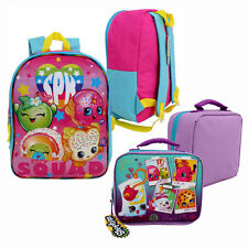 "SPK Shopkins Food Girls Kids SCHOOL 15"" Book BACKPACK + INSULATED LUNCH BAG Box"