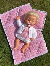 More details for vintage tiny tears doll palitoy 3/4 eye dummy outfit pink blanket baby 1970's