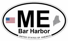 "Bar Harbor, Maine Oval (5"" x 3"") Full Color Printed Vinyl Decal Window Sticker"