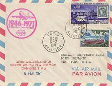 LETTRE PAR AVION LETTER AIR MAIL PREMIER VOL PARIS POUR NEW YORK 1971