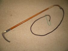 """ANTIQUE HALLMARKED 1905 SILVER COLLAR HUNTING WHIP and LASH.""""J HOWELL"""""""