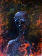 'Alien Fire' Limited Signed Print -painting aliens UFO portrait art crash grey