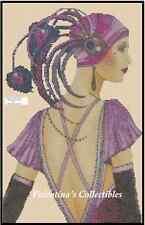 Cross Stitch Chart ART DECO LADY IN IN PURPLE DRESS -  No.1-103 (Large Print)