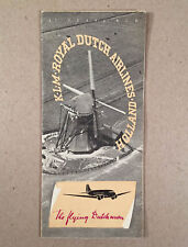 KLM ROYAL DUTCH AIRLINES 1939 Folding Illustrated Brochure THE FLYING DUTCHMAN
