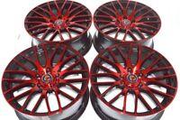 """4 New DDR Zuki 17x7.5 5x114.3 38mm Black Polished Red 17"""" Wheels Rims"""