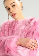 MISS SELFRIDGE SIZE 8-10 FAUX FUR SHAGGY BRIGHT PINK WOMENS JACKET LADIES COAT