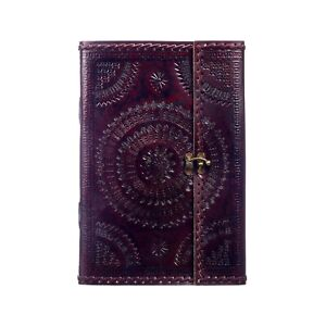 Embossed Stitched A4 Leather Journal, 125 Unlined Recycled Paper Notebook Diary