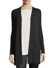 NEW EILEEN FISHER  BLACK  RIBBED WOOL CREPE STRAIGHT LONG CARDIGAN M $298