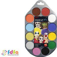 SMIFFYS FX AQUA FACE & BODY PAINT - 12 colours palette - fancy dress make up