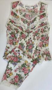 M&S Vintage Pyjamas Pink Floral Lace Pleat Butyon Front Sleeveless UK 12
