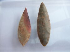 2 Ancient Neolithic Flint Arrowheads, Stone Age, VERY RARE !!