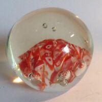 Vintage Millefiori Art Glass Paperweight Orange Star Pattern Controlled Bubbles