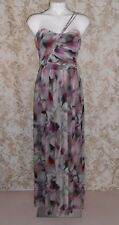 OUT WITH EVIE NWOT Sz 10 multi abstract silk one shoulder maxi cocktail Dress