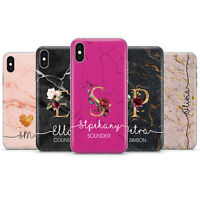 PERSONALISED Initial Name Marble Rose Gold Heart Phone Case Cover For IPhone p28