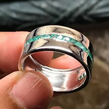 Genuine 2ct Green Emerald 925 Solid Sterling Silver Men's Band Ring 10