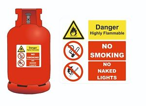 DANGER - HIGHLY FLAMMABLE NO SMOKING NO NAKED LIGHTS STICKER 150mm x 150m