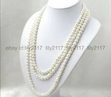 GENUINE SUPER LONG 50 INCHES 7-8MM NATURAL WHITE AKOYA CULTURED PEARL NECKLACE