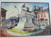 THOMAS MALLOY ARTIST SIGNED ORIGINAL WATERCOLOR HENRY LONGFELLOW MONUMENT, MAINE
