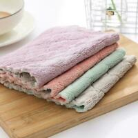 5PCS Super Absorbent Microfiber Kitchen Dish Cloth Towel Household Cleaning A6N0
