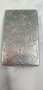 antique London 1857 ornate etched lid glass trinket box