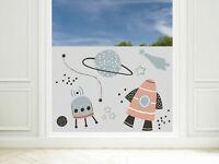 Fensterfolie Kinderzimmer Weltall Rakete Junge Sichtschutzfolie Milchglasfolie